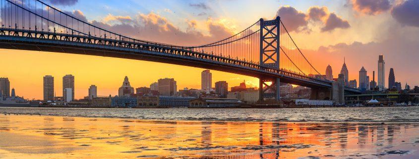 Ben Franklin Bridge and Penn's Landing Sunset