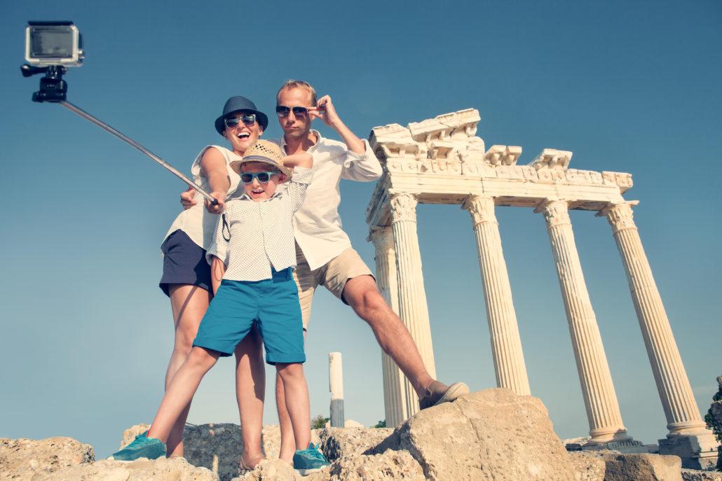 Family selfie in Rome, Italy