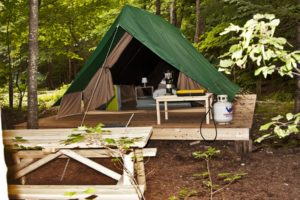 Huttopia, camping, Glamping, tents, tenting, campground, cottages, platform tents, Conway, New Hampshire,