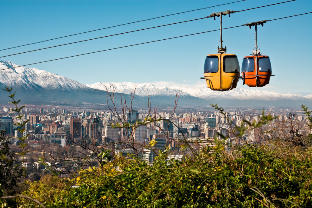 Cable Car in San Cristobal Hill, Santiago, Chile