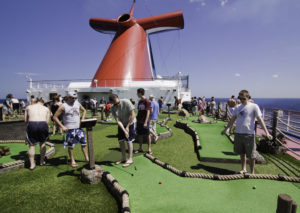 Family Golfing on a cruise ship