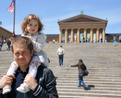 Father and daughter at Philadelphia Museum of Art