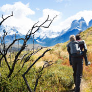 Father and son hike through Patagonia