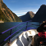 tourists on boat in Fiordland Australia