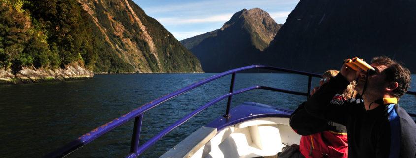 tourists on boat in Fiordland Australia