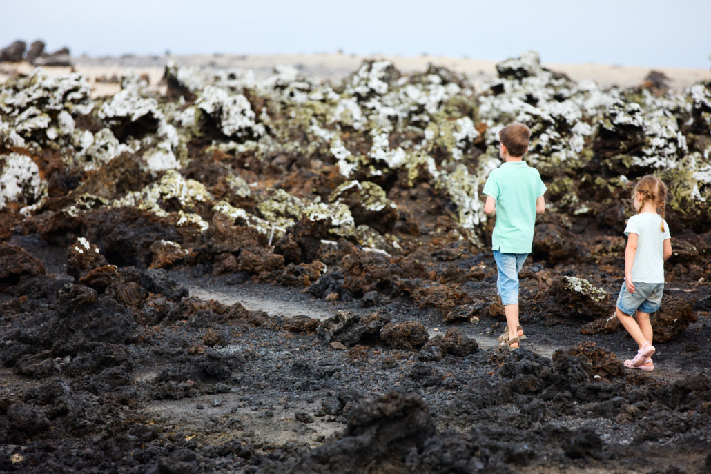 Kids walking on the Galapagos Islands