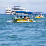Tourists on a dingy from the cruise ship to the Galapagos Islands