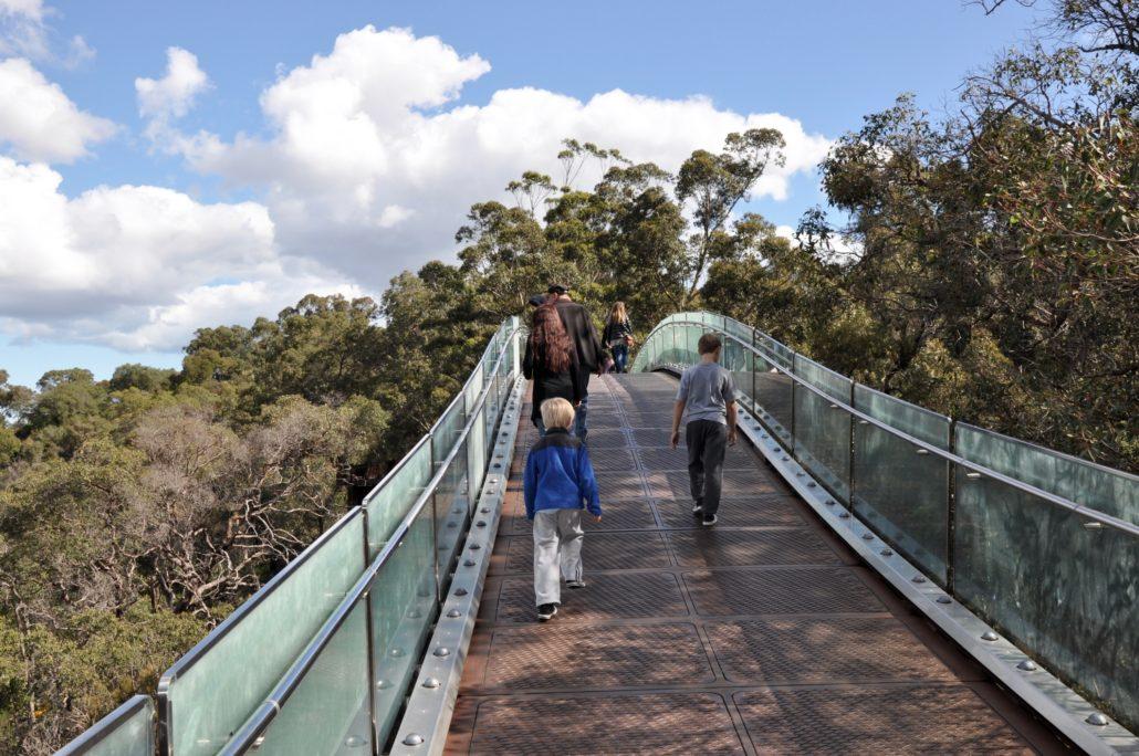 Pedestrians at King's Park in Perth, Australia