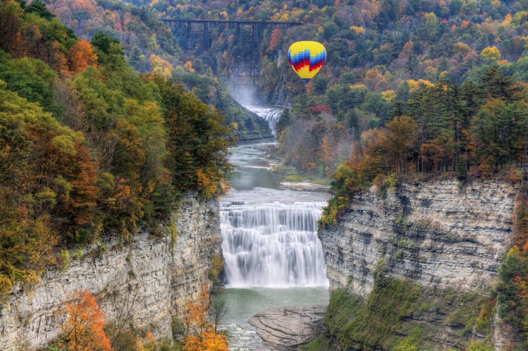 Hot Air Balloon Over The Middle Falls At Letchworth State Park