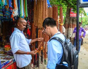 Tourists bargaining in Gaya India Marketplace