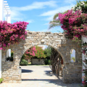 Hotel entrance in Paros, Greece