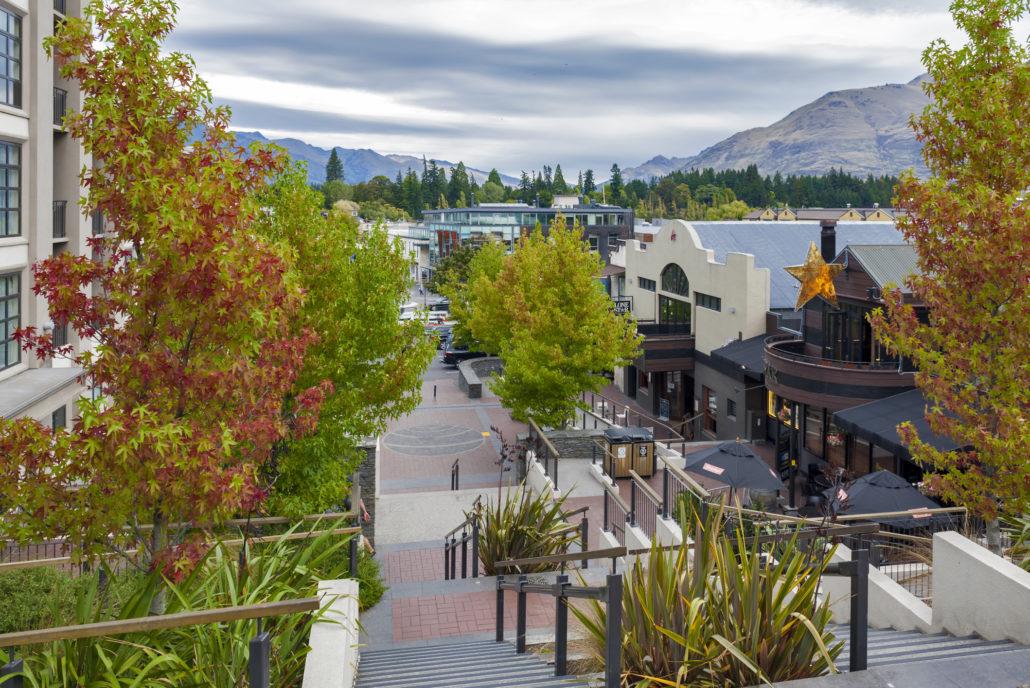 City street view of Queenstown New Zealand