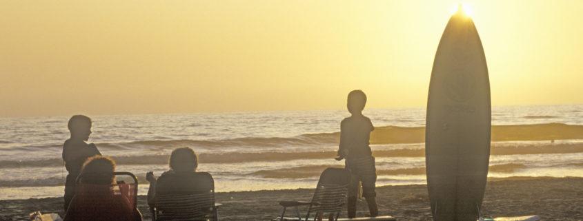 family on beach in San Diego California