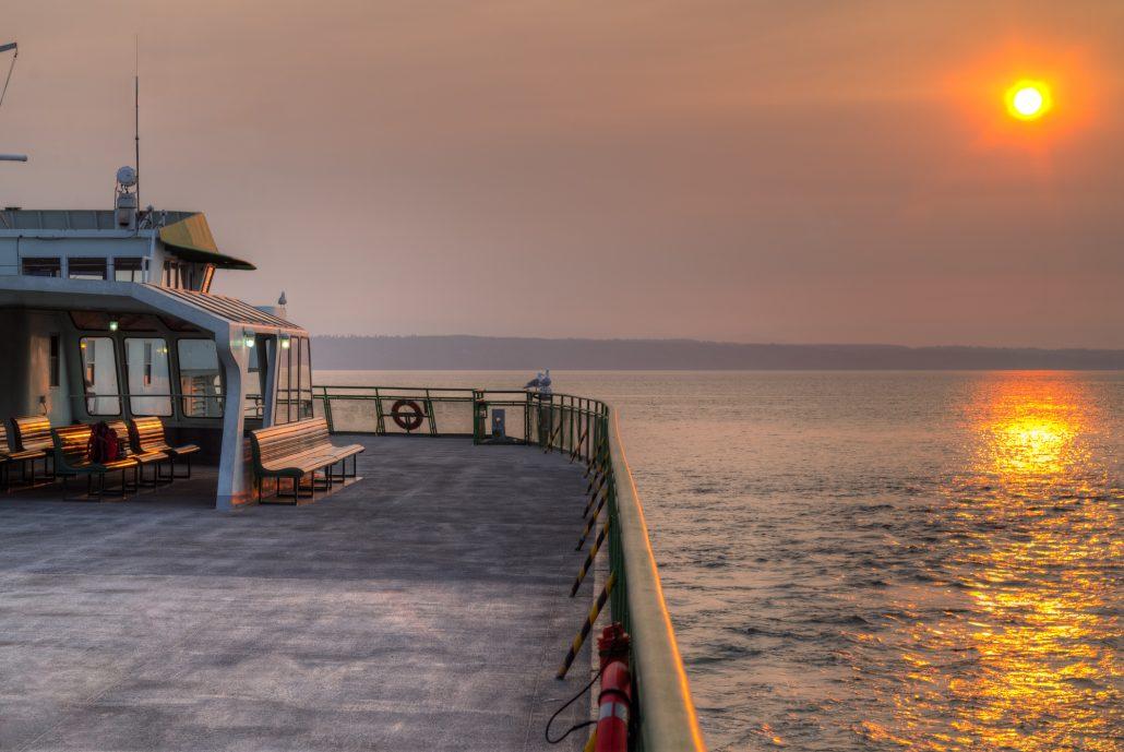 Sunset Smoky Sky from Ferry Boat Washington state USA