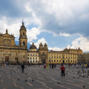 Bolivar Square with the Archbishopric Cathedral of Bogotá in the background in the city of Bogotá, Colombia