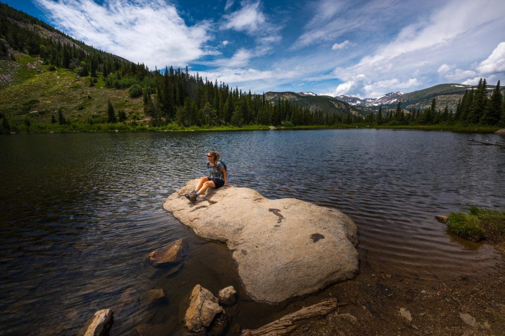 Hiker at Lost Lake in Boulder Colorado