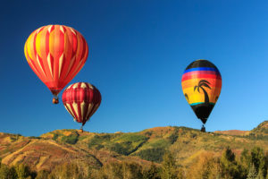 Hot Air Balloon Festival in Park City Utah in the fall
