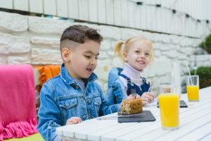 Kids at hotel breakfast