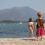Kids looking at Lake Garda in Italy