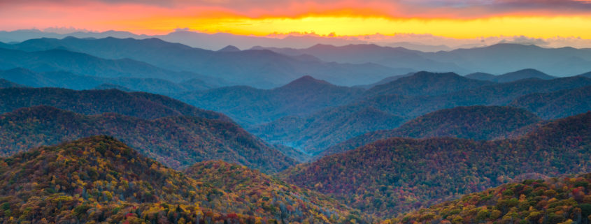 North Carolina Blue Ridge mountains in the Fall