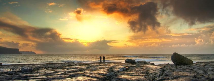 Sunset in the west Ireland - Atlantic ocean coast