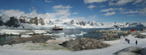 Penguin colonies, cruise ship & tourists, Petermann Island, Antarctica