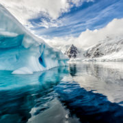 Iceberg floats in Andord Bay on Graham Land, Antarctica