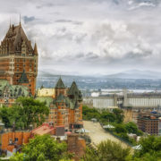 Chateau Frontenac in Quebec city, Canada. Cloudy