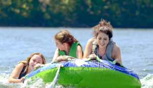 Teen girls tubing