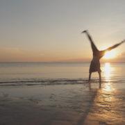 Teen Cartwheel on the beach