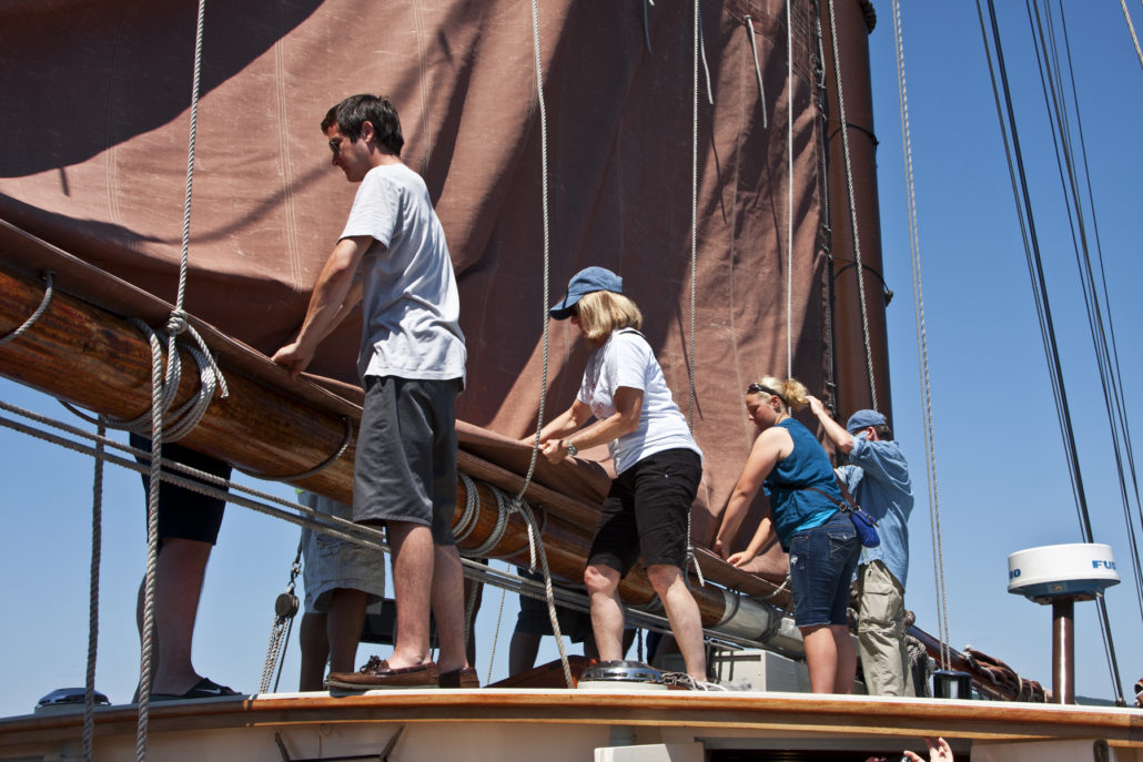 Working the sails, aboard Angelique. Penobscot Bay Maine