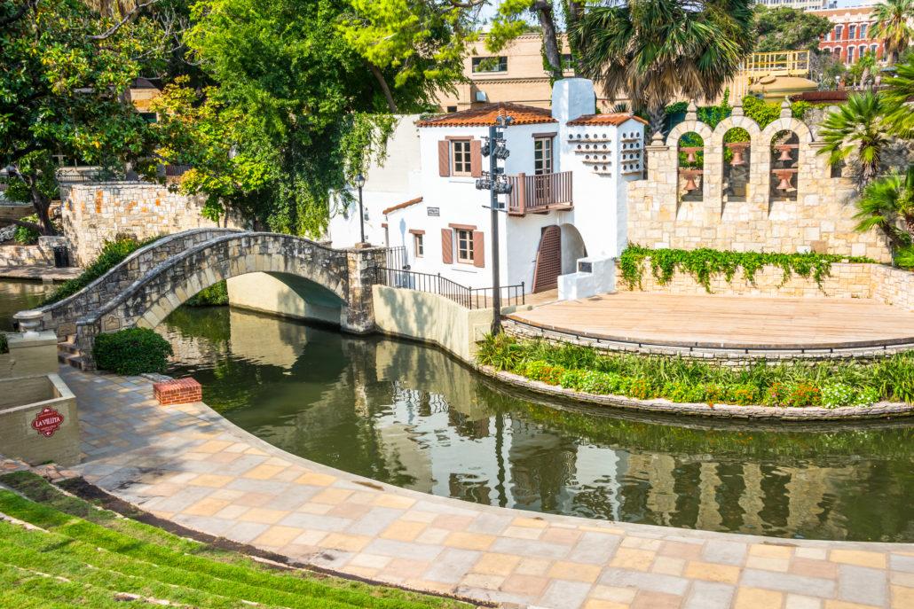 Outdoor Arneson River Theater in historic district of La Villita near Alamo on the River Walk in San Antonio, Texas