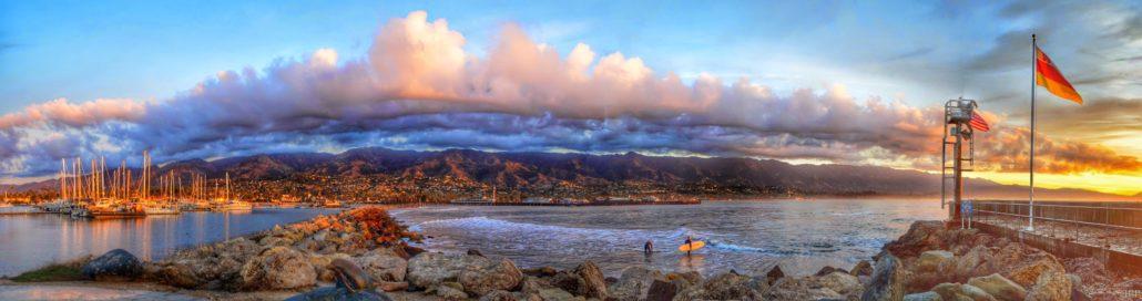 Sunrise Santa Barbara, Calif. with surfers
