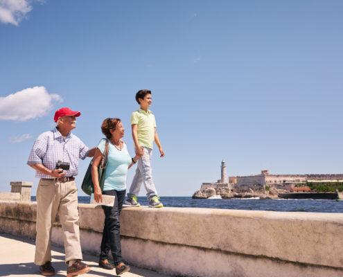 Grandparents and Grandson in Havanna, Cuba