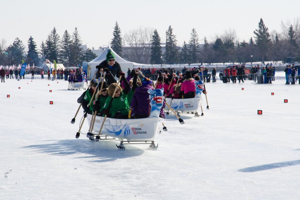 Ice Dragon Boat Race during Winterlude in Ottawa, Canada