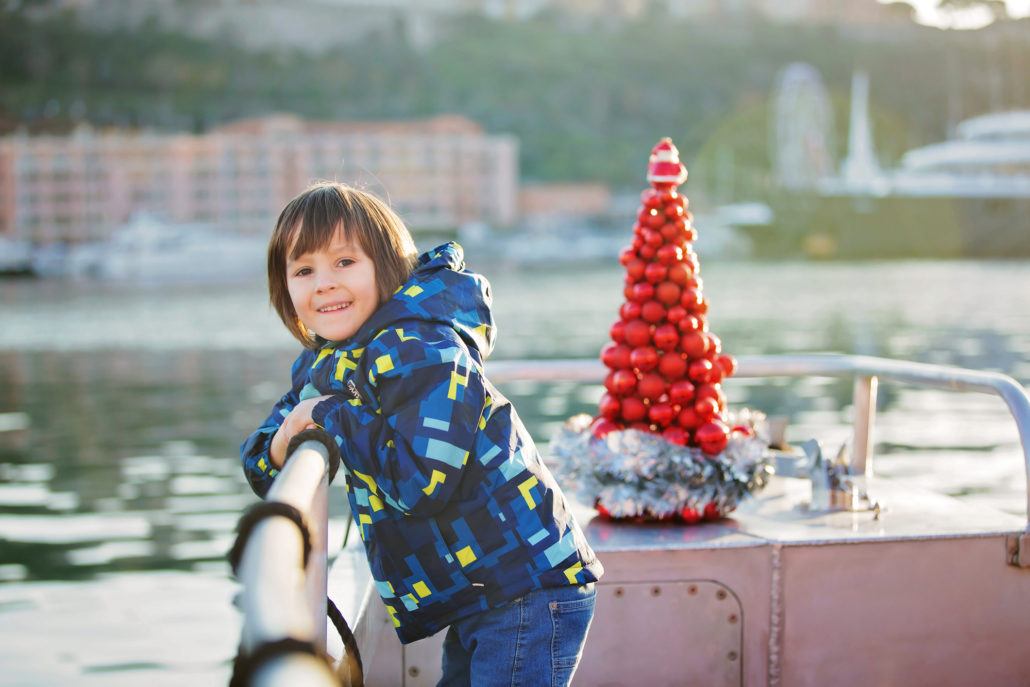 Boy on ferry during Christmas