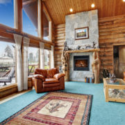Big log cabin living room