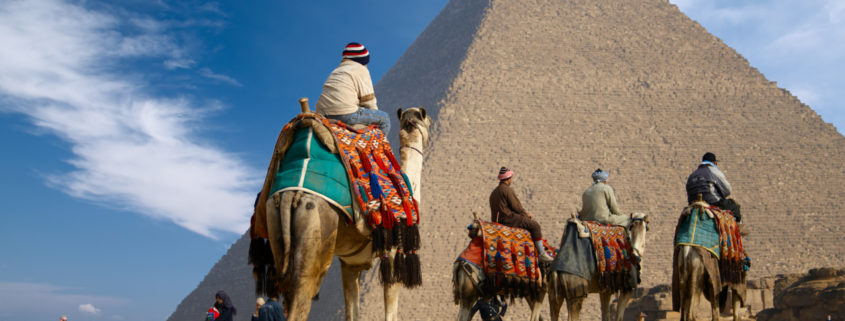 On camel near Great Pyramid in Egypt.