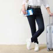 Woman traveling with travel insurance