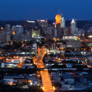 The City of Cincinnati glows at dusk with a vantage point from the Queens Tower in East Price Hill.