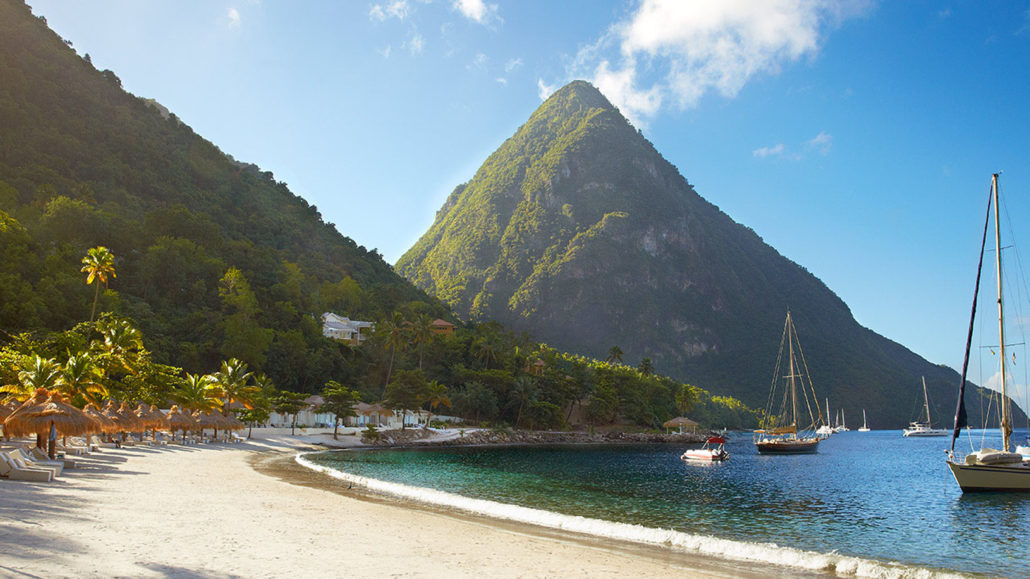 St Lucia Beach with Boat and Piton