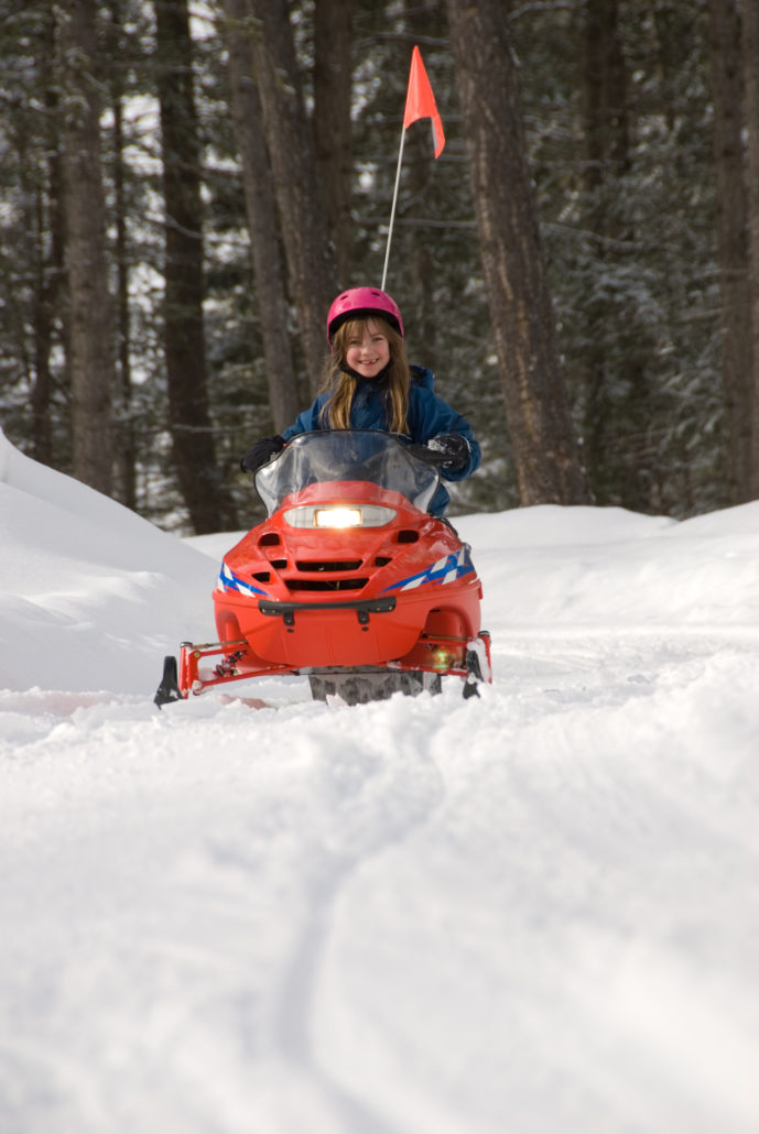 Snowmobiling girl