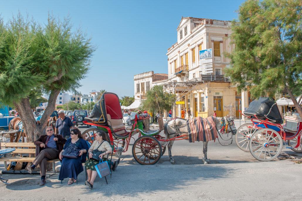Port town of Aegina, Greece
