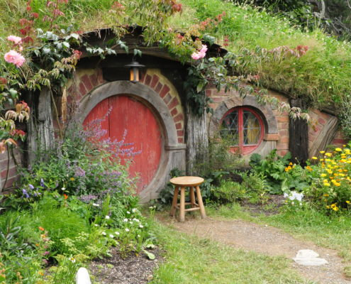 Red door Hobbit house movie set tourism