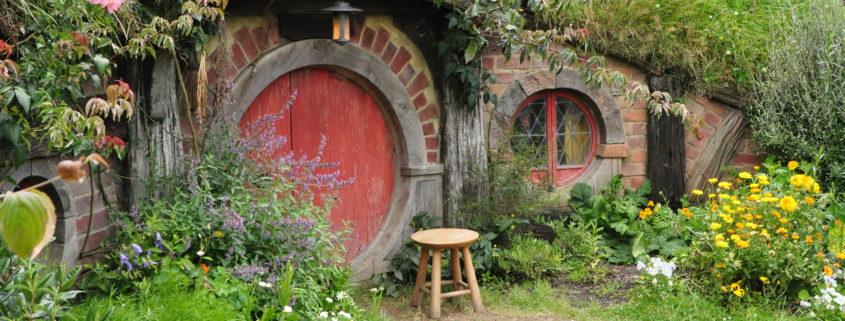 Red door Hobbit house movie set tourism