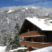 Ski lodge in winter