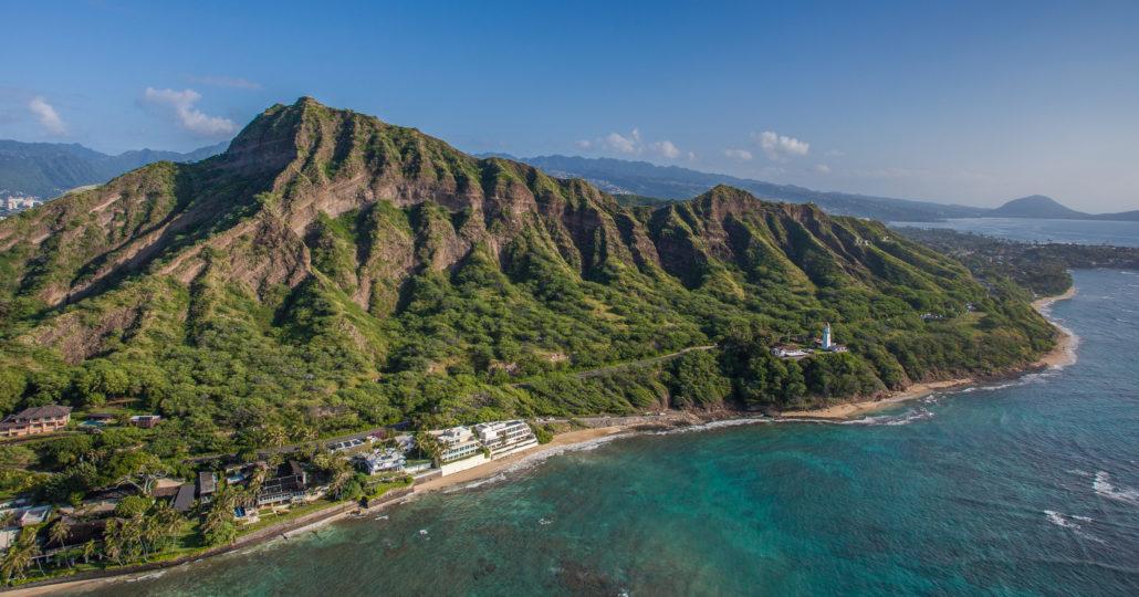 Aerial View Diamond Head Crater Honolulu Hawaii