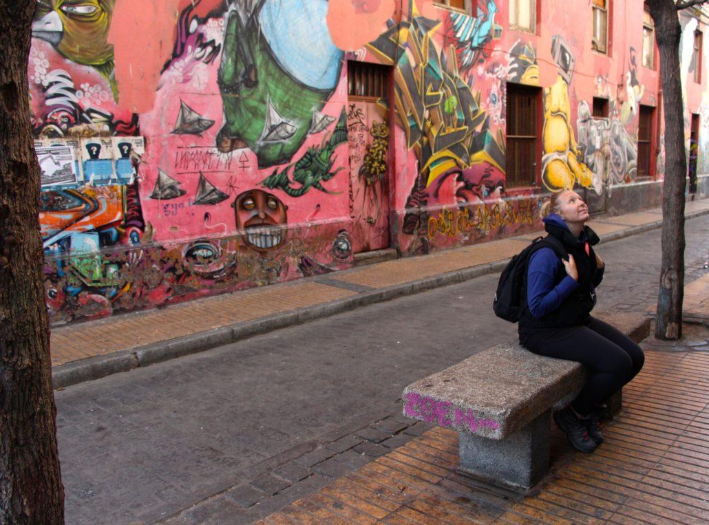Graffiti street in Valparaiso, Chile