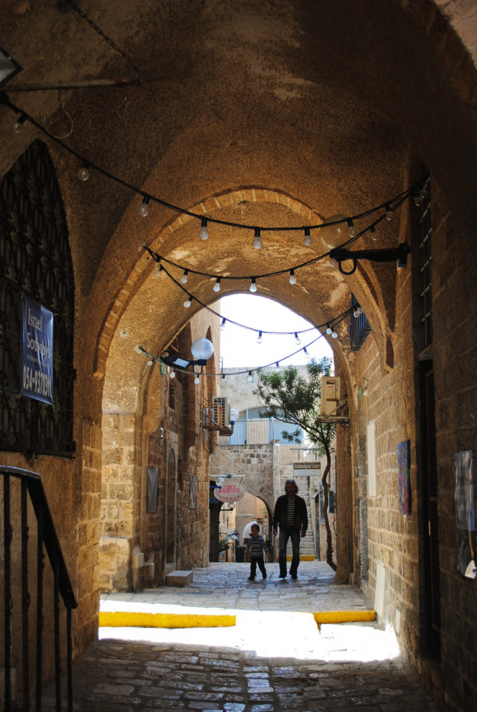 walking down alley in old Jaffa, Tel Aviv, Israel