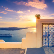 Amazing evening view of Fira, caldera, volcano of Santorini, Greece. Destination, cyclades.